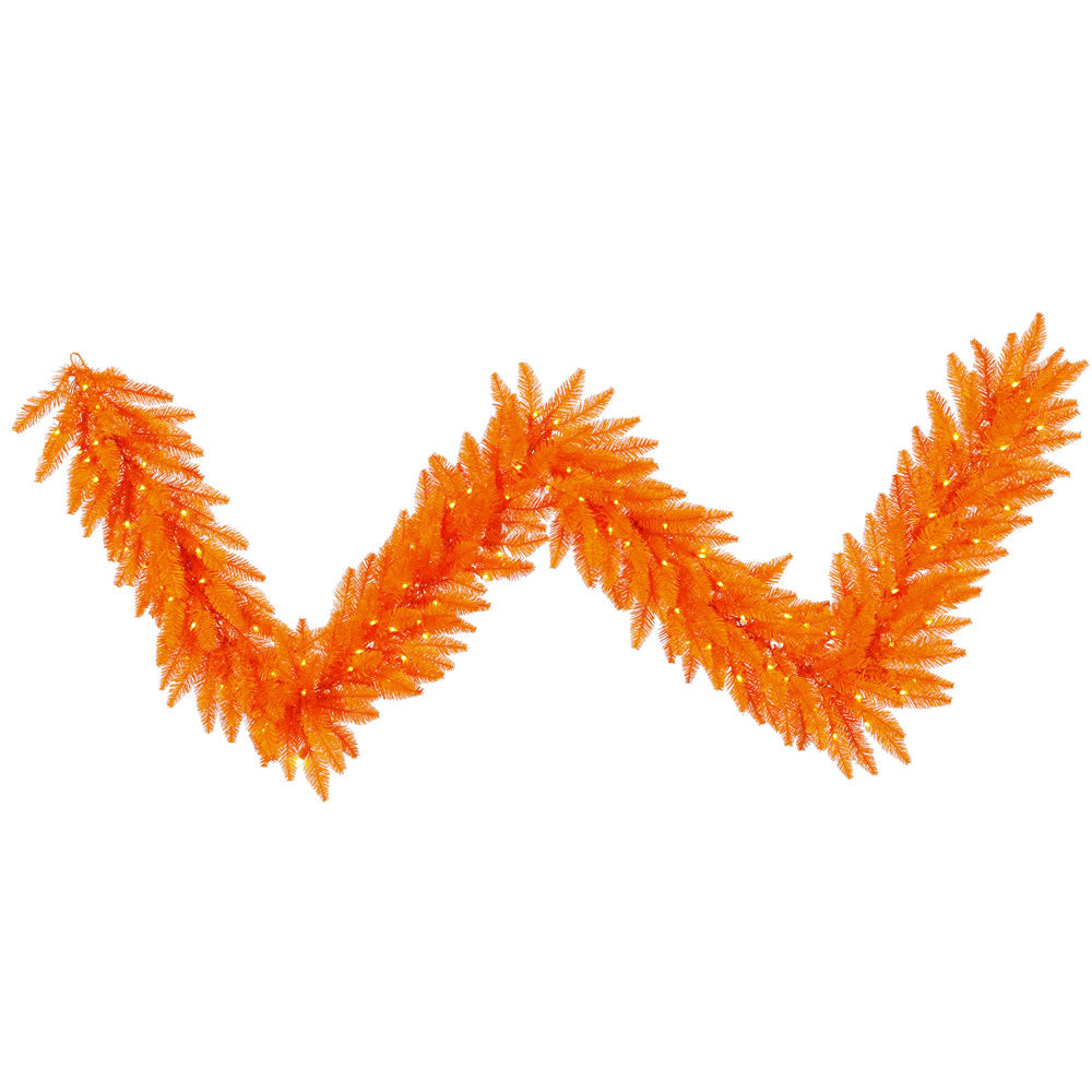"9' x 14"" Orange Artificial Garland - 250 PVC Tips and 100 Dura-Lit Orange lights"
