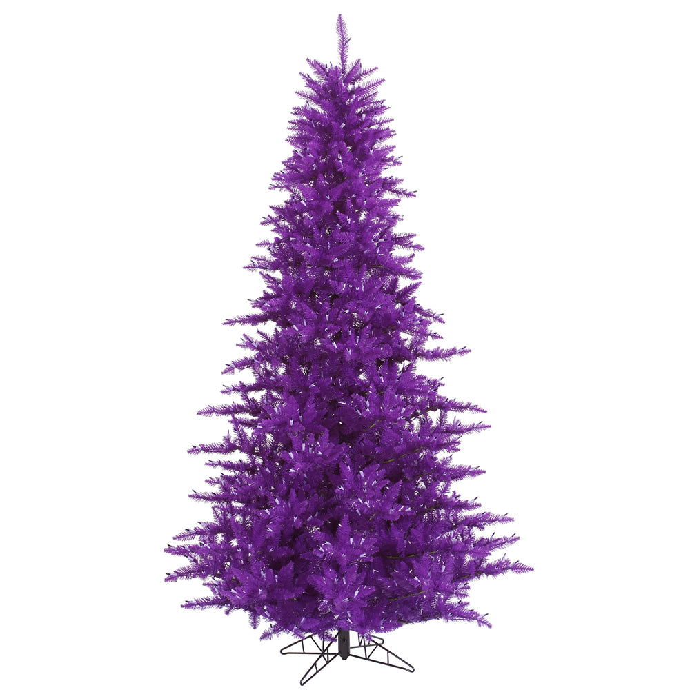 "Vickerman Unlit 3' x 25"" Purple Fir Artificial Tree - 234 PVC Tips - Metal Stand"