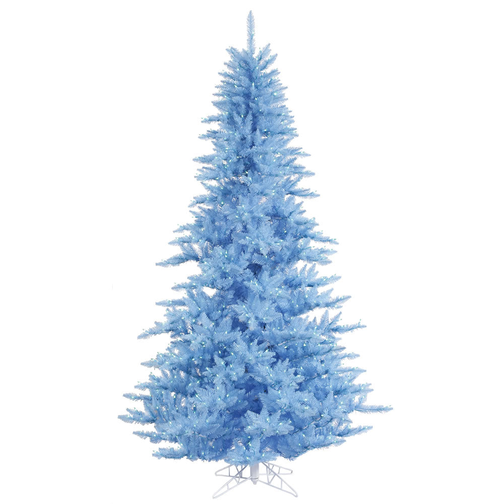 "Vickerman 3' x 25"" Sky Blue Fir Artificial Tree w/ 100 Sky Blue Dura-Lit Lights"