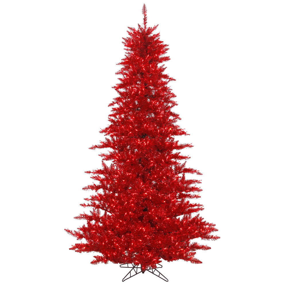 Vickerman 3' Tinsel Red Artificial Tree w/ 100 Red Dura-Lit Italian LED Lights