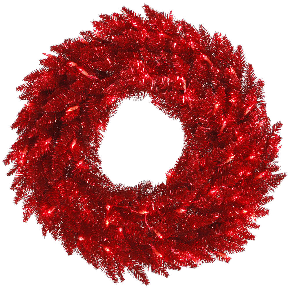 """48"""" Tinsel Red Artificial Wreath - 480 Tips 150 Red Dura-Lit Italian LED Lights"""
