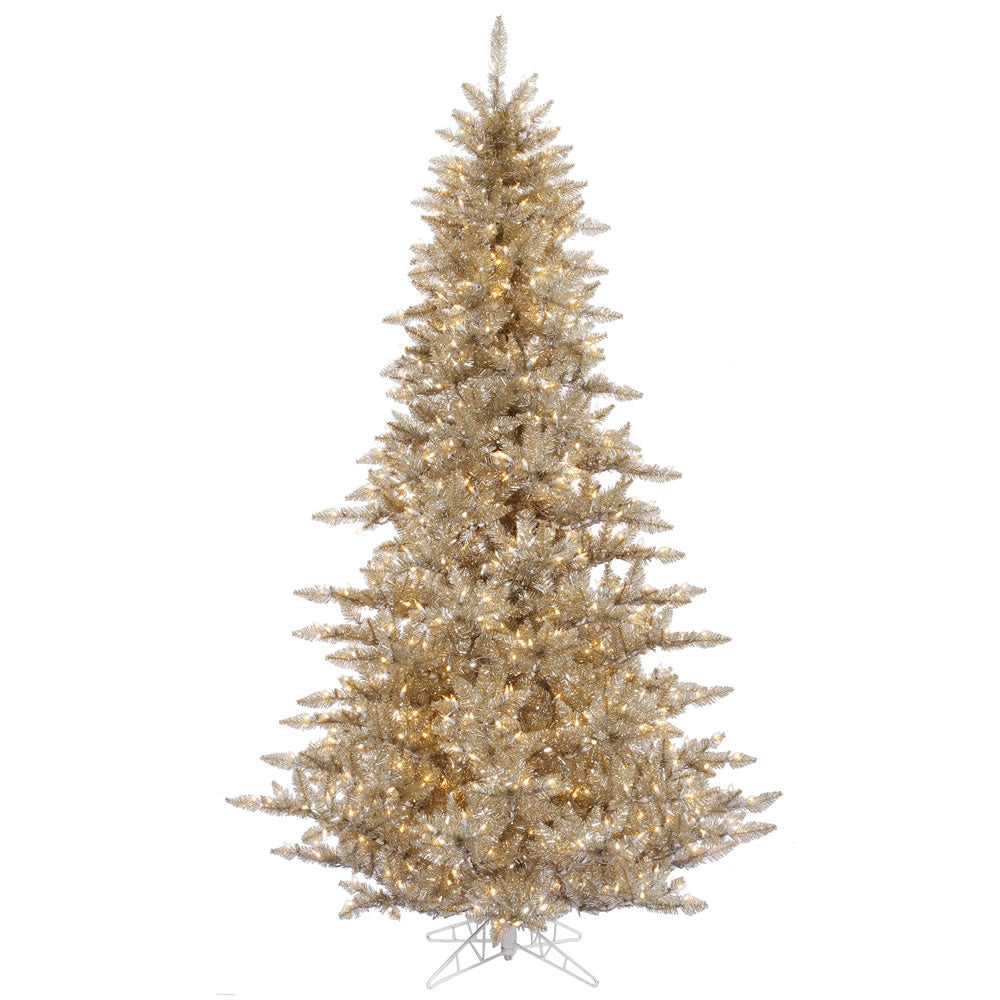 Vickerman 10Ft. Champagne 2980 Tips Christmas Tree 1150 Clear Mini Lights