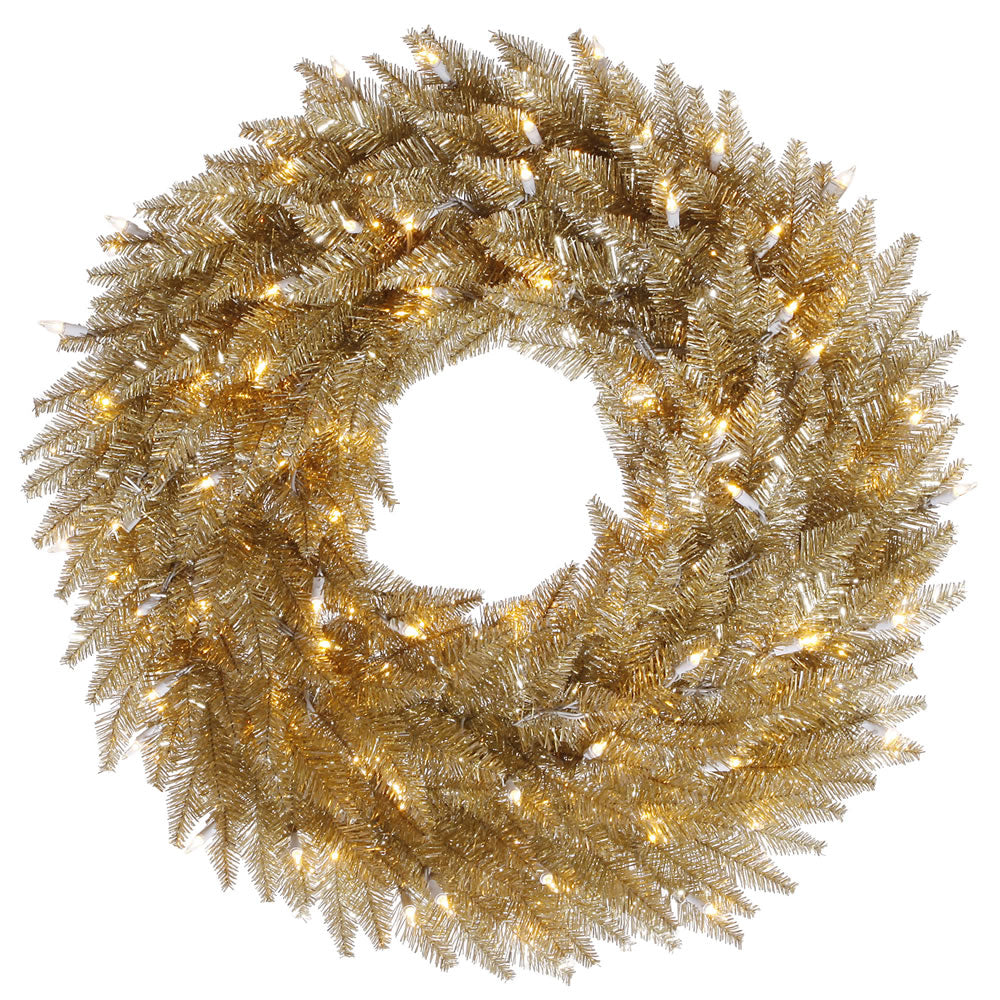 "30"" Champagne Artificial Wreath 260 PVC Tips 100 Warm White Dura-Lit LED Lights"