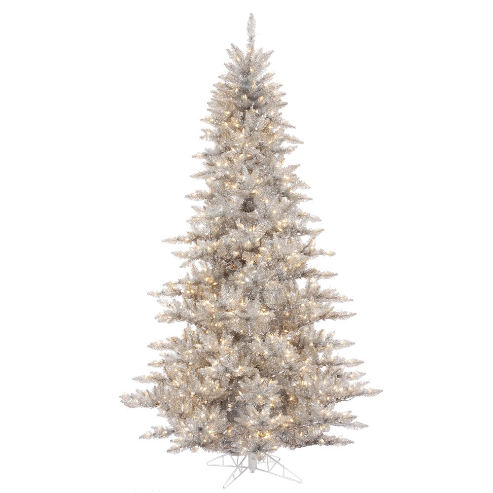 Vickerman 12Ft. Silver 4631 Tips Christmas Tree 1650 Clear Mini Lights