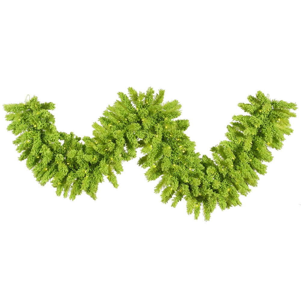 "9' x 14"" Flocked Lime Artificial Garland - 210 Tips 100 Lime Dura-Lit LED Lights"