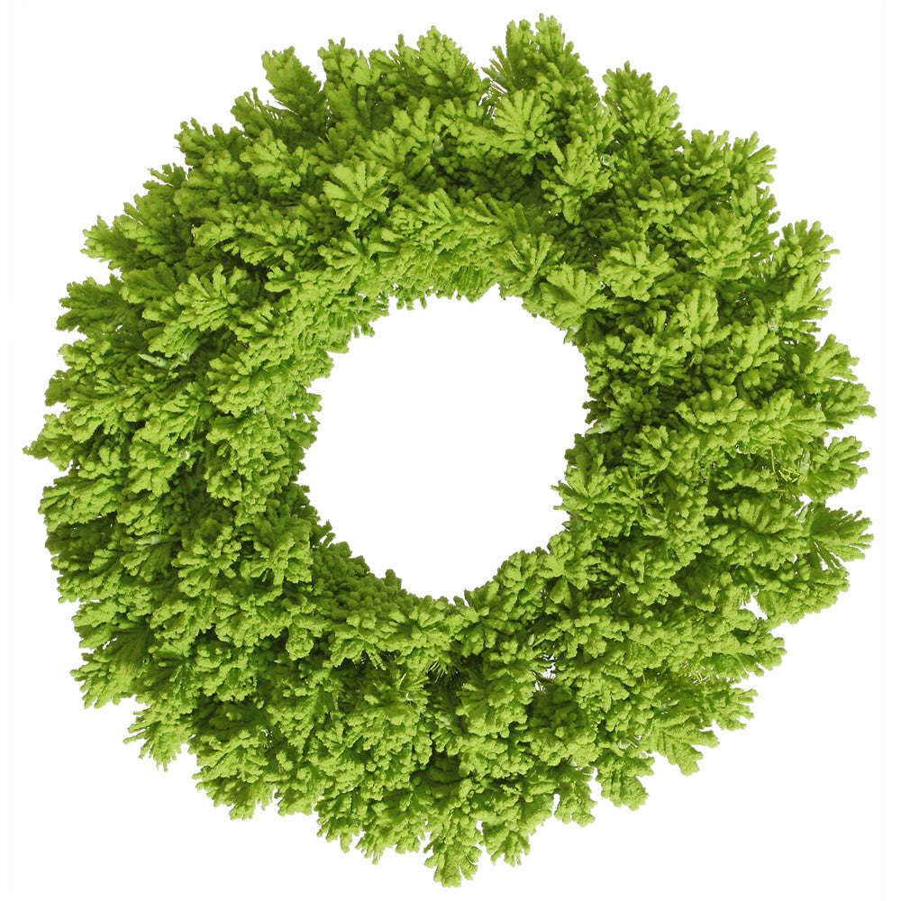 "Unlit 24"" Flocked Lime Fir Artificial Wreath - 150 PVC Tips and Lime Flocking"
