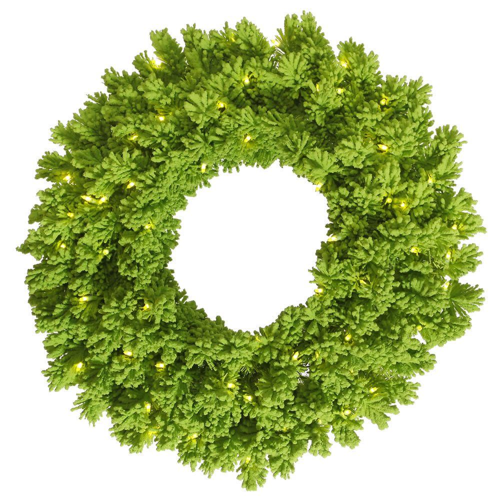 "30"" Flocked Lime Artificial Wreath - 180 Tips - 100 Lime Dura-Lit LED Lights"