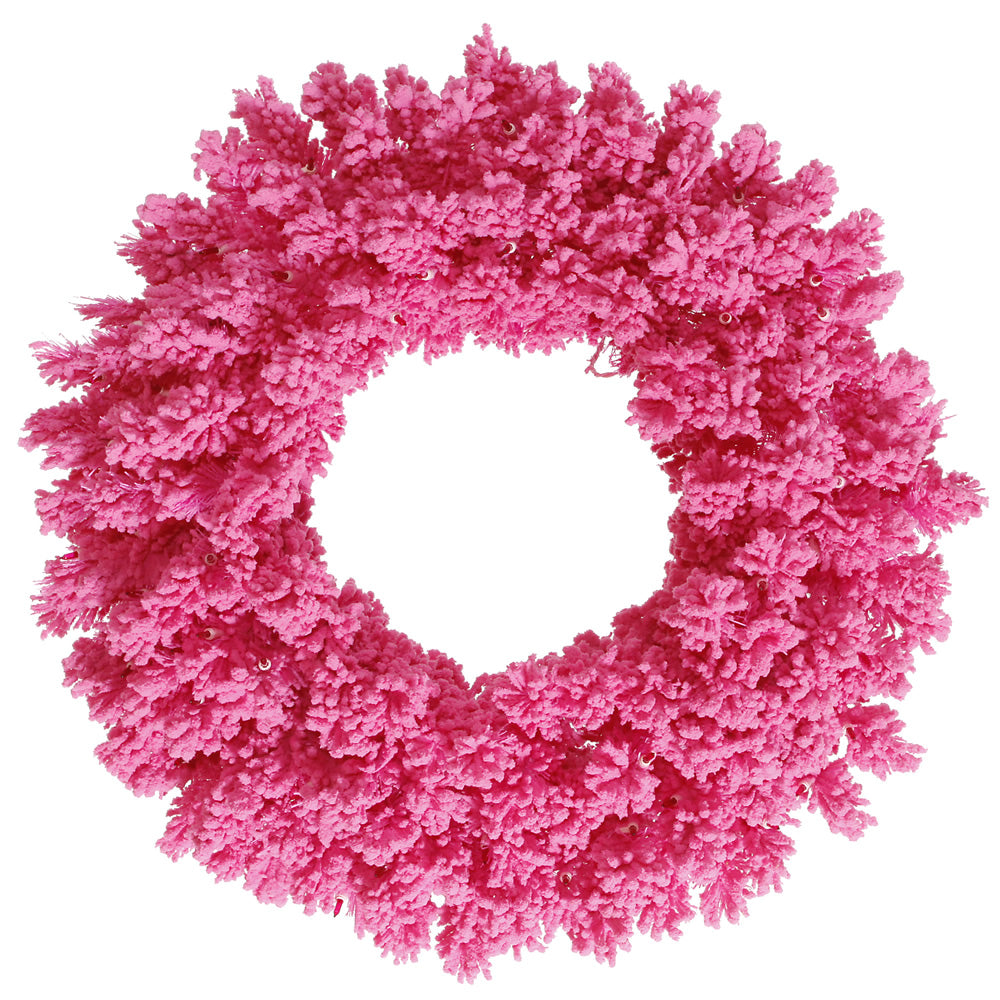 "Unlit 24"" Flocked Pink Fir Artificial Wreath - 150 PVC Tips and Pink Flocking"