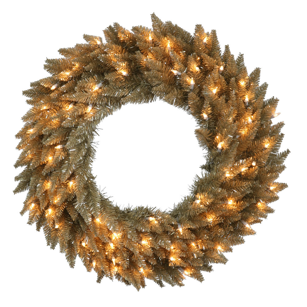 "24"" Antique Champagne Wreath - 50 Warm White LED Lights"