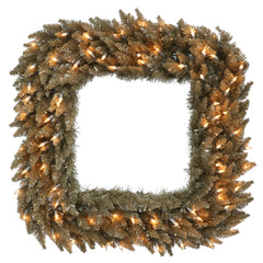 "30"" Antique Champagne Fir Sq Wreath 70 Clear"