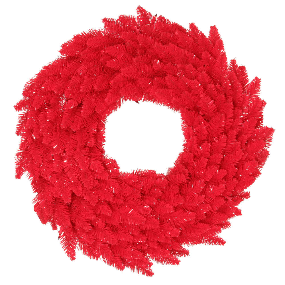 "30"" Red Artificial Wreath - 260 PVC Tips and 100 Dura-Lit Red lights on Red Wire"