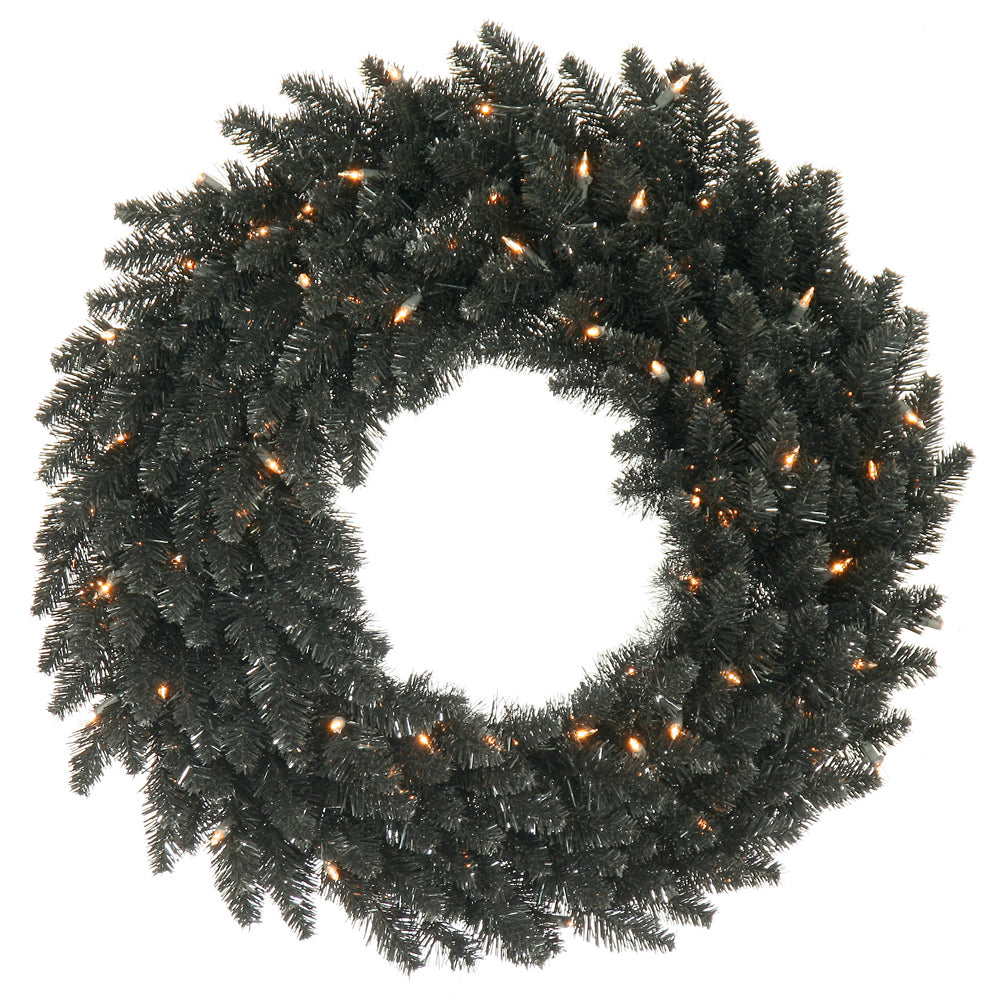 "48"" Black Fir Artificial Wreath 480 PVC Tips 150 Warm White Dura-Lit LED Lights"