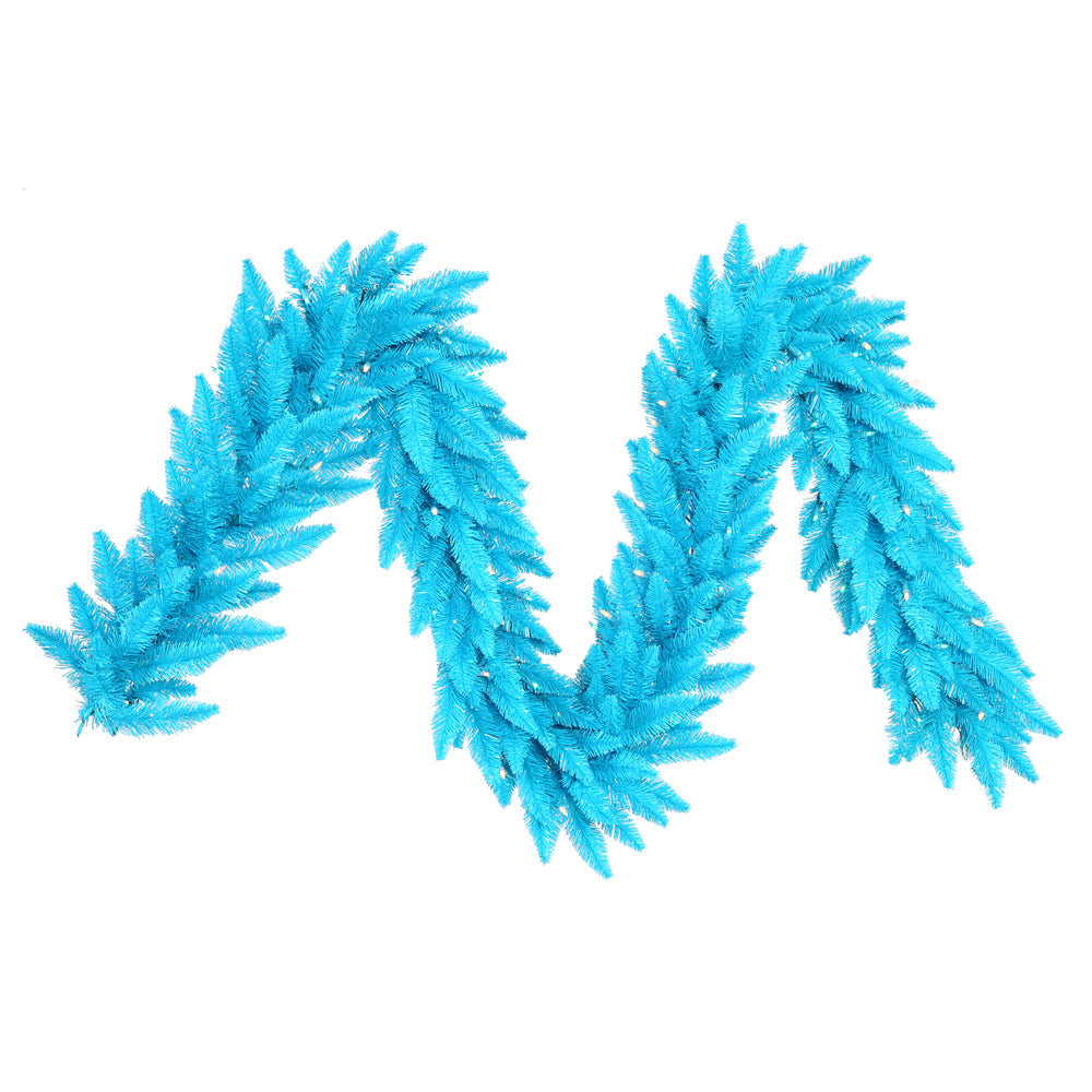 "9' x 14"" Sky Blue Artificial Garland 250 Tips 100 Sky Blue Dura-Lit LED Lights"