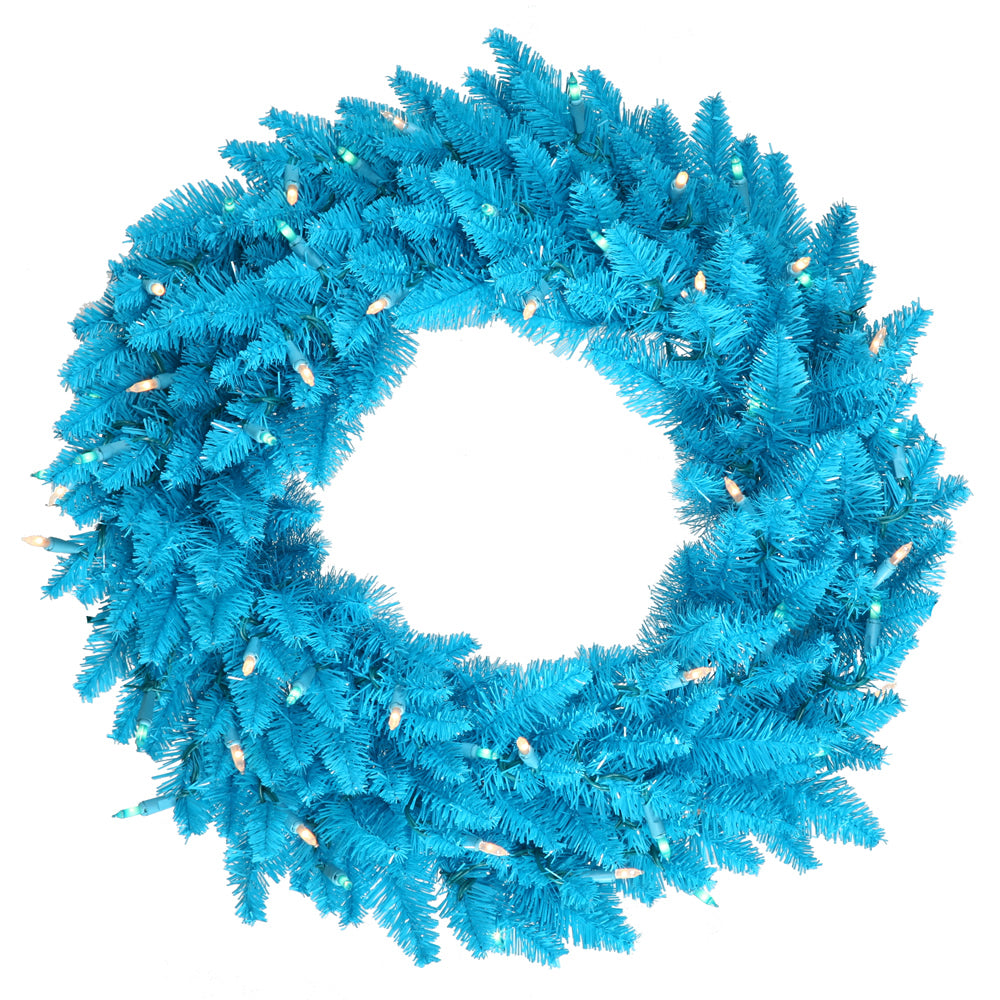 "30"" Sky Blue Artificial Wreath - 260 PVC Tips 70 Sky Blue Dura-Lit LED Lights"