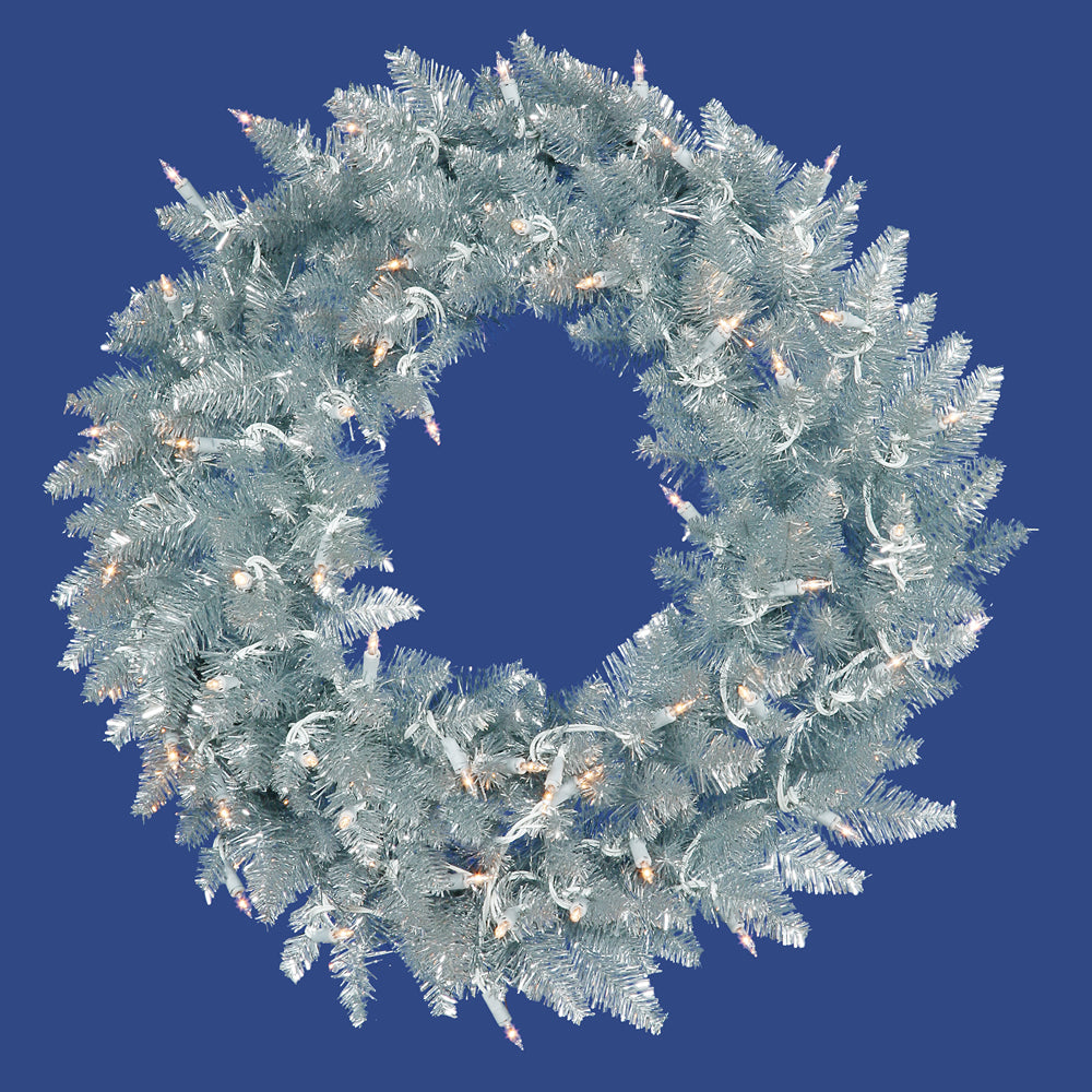 Vickerman 30in. Silver 260 Tips Wreath 70 Clear Mini Lights
