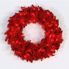 "24"" Flocked Red Artificial Wreath 150 Tip Red Flocking 50 Red Dura-Lit LED Light"