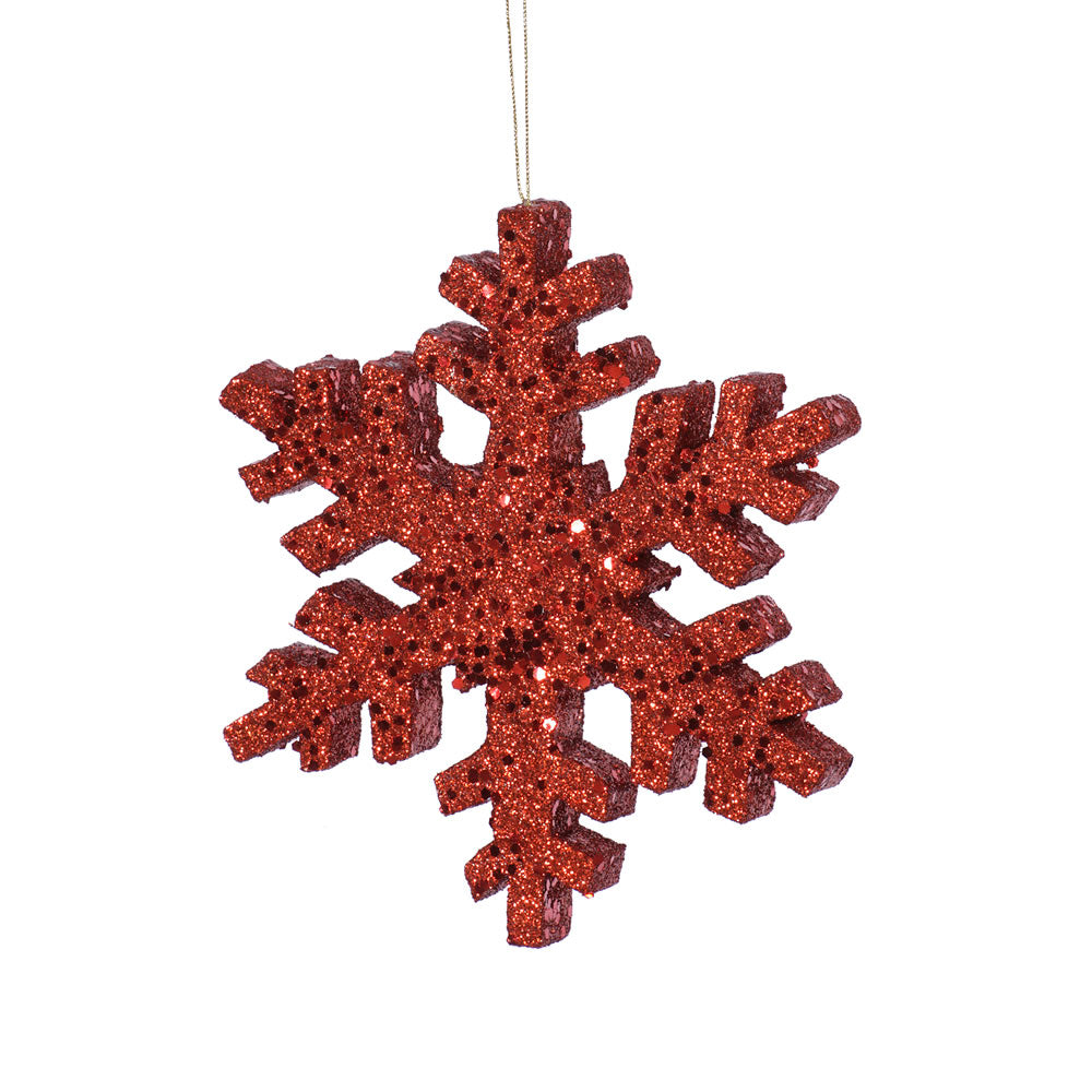 Vickerman 12 in. Red Outdoor Glitter Snowflake Christmas Ornament