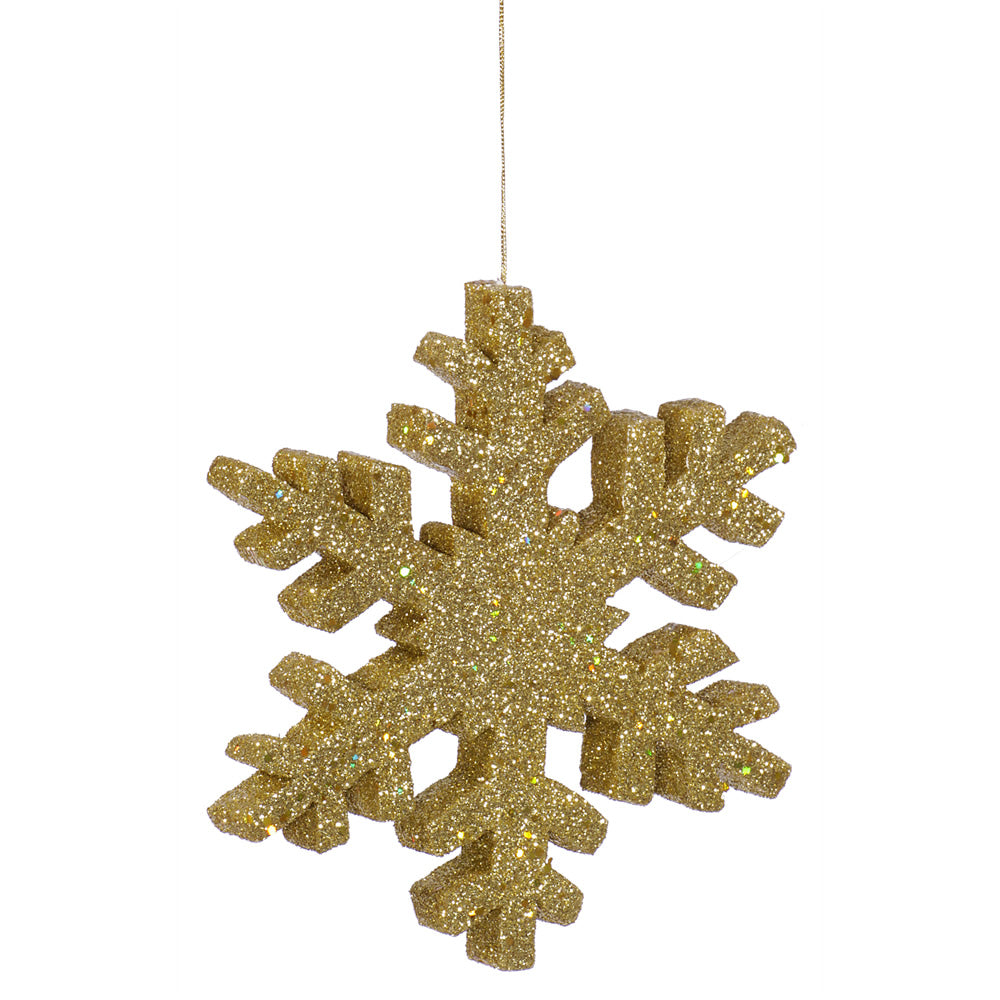Vickerman 12 in. Gold Outdoor Glitter Snowflake Christmas Ornament