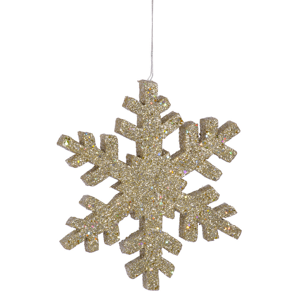 Vickerman 36 in. Champagne Outdoor Glitter Snowflake Christmas Ornament