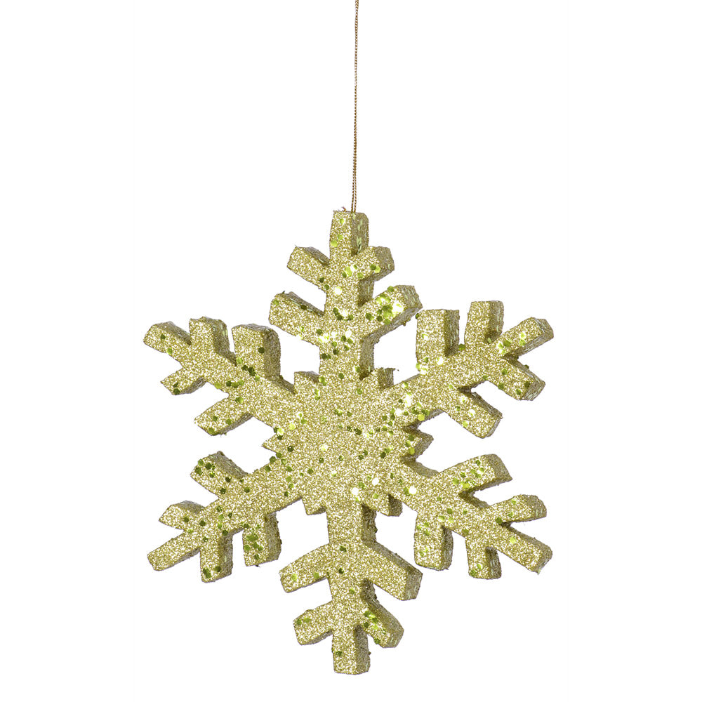 Vickerman 8 in. Lime Outdoor Glitter Snowflake Christmas Ornament