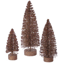 "5""-7""-9"" Mocha Glitter Oval Tree Set"