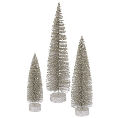 "12""-16""-20"" Champagne Glit Oval Tree Set"