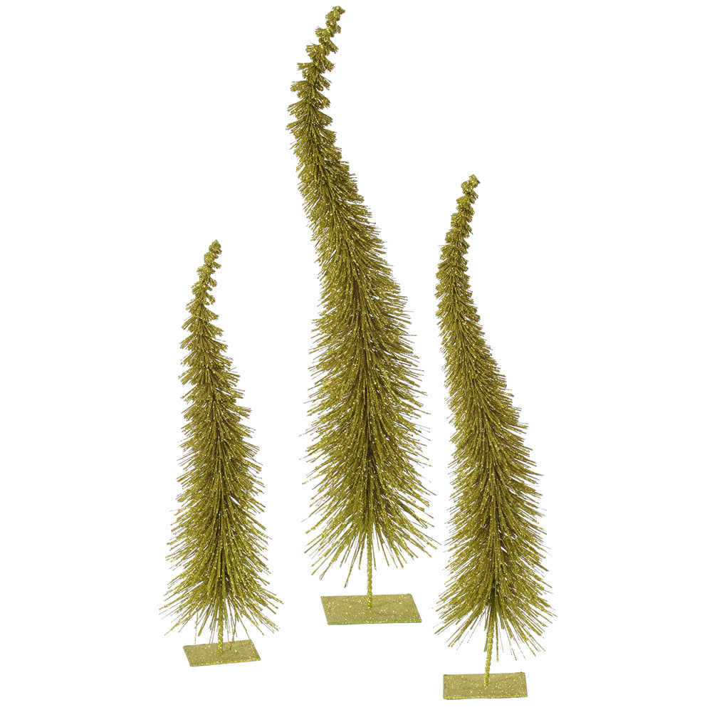 "18""-22""-26"" Olive Glit Curved Tree Set"