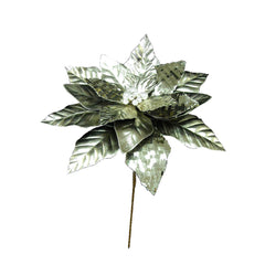 "14"" Platinum Poinsettia Stem 12"" Flower"