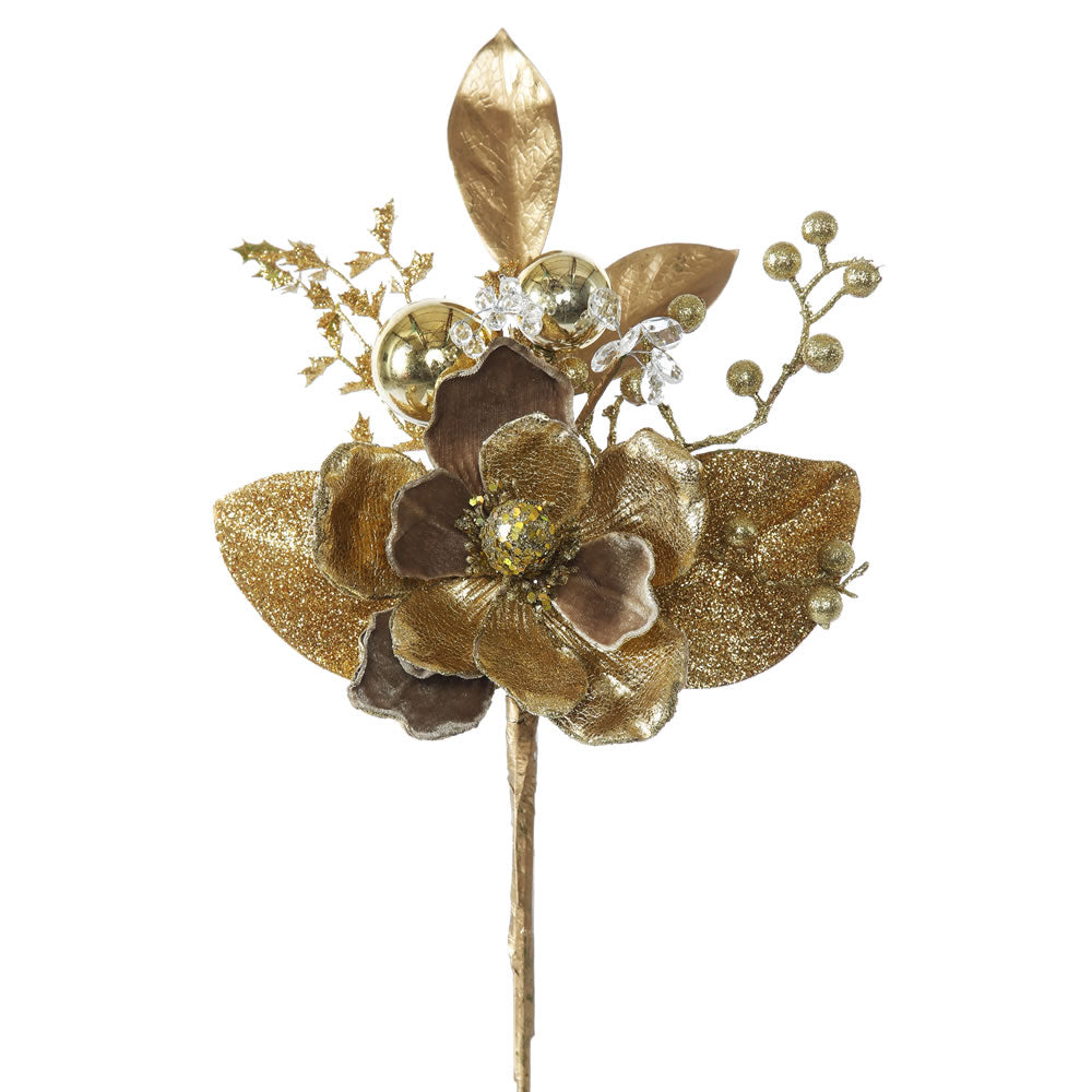 "3PK - 19"" Gold Magnolia Indoor Spray"