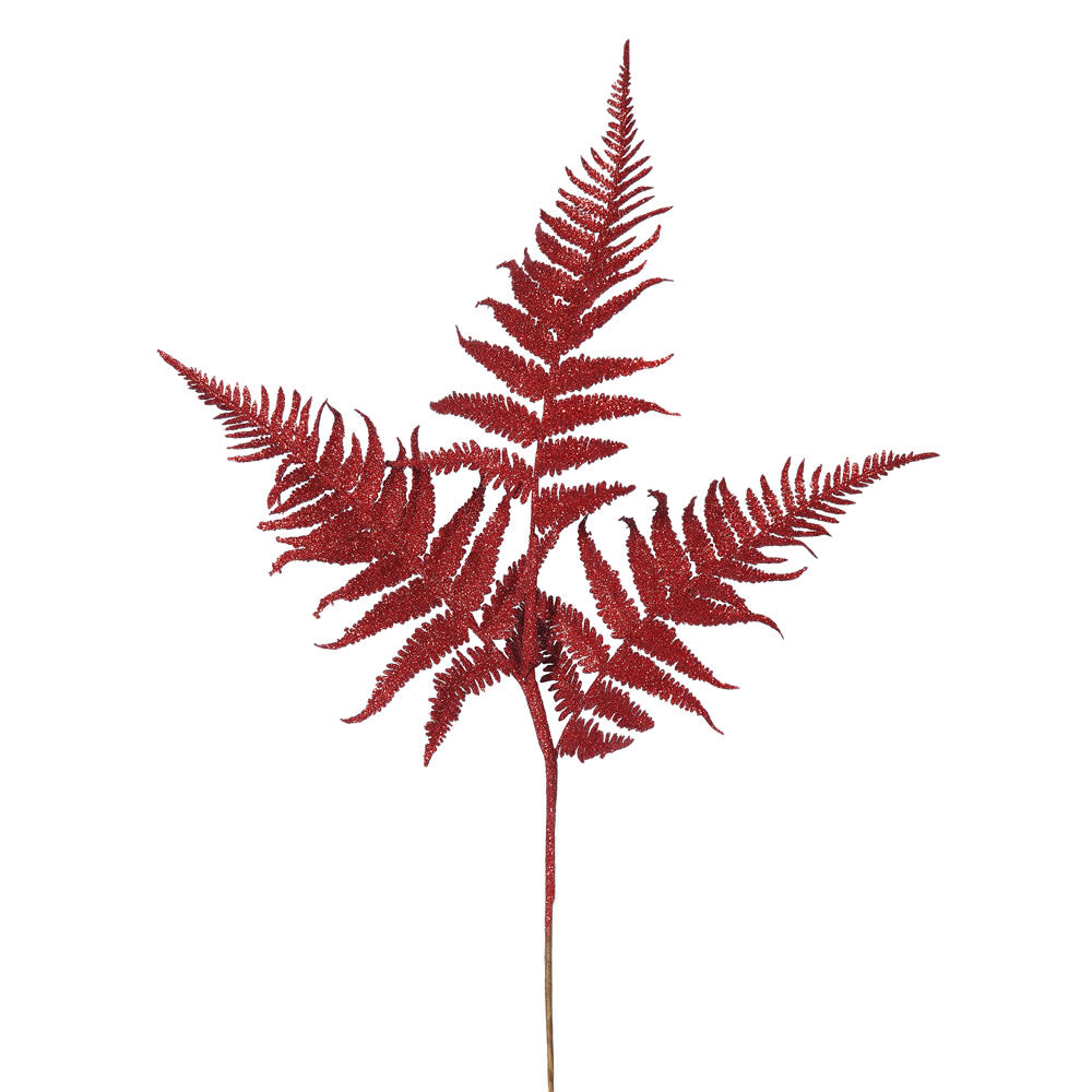"6PK - 22"" Red Onoclea Glitter Fern Indoor Spray"