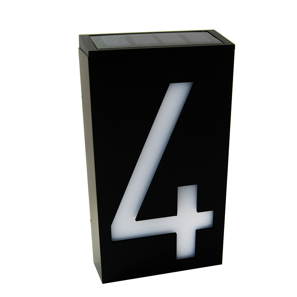 Waterproof Solar Power LED Address Number Door Wall Plate Light Sign - Digit 4