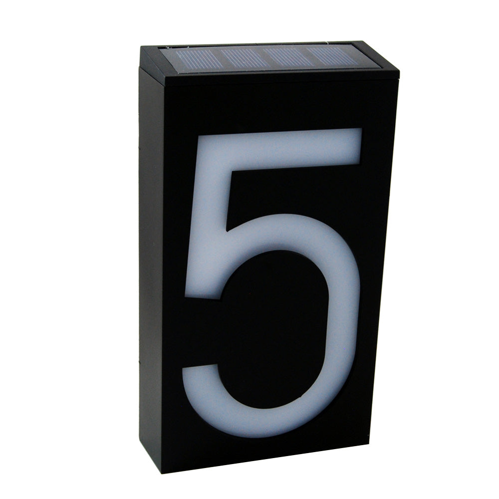 Waterproof Solar Power LED Address Number Door Wall Plate Light Sign - Digit 5