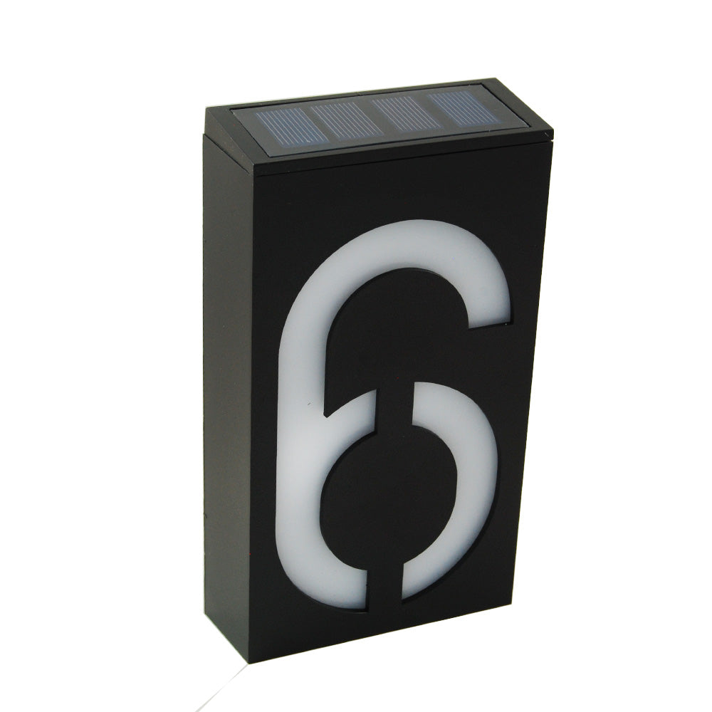 Waterproof Solar Power LED Address Number Door Wall Plate Light Sign - Digit 6
