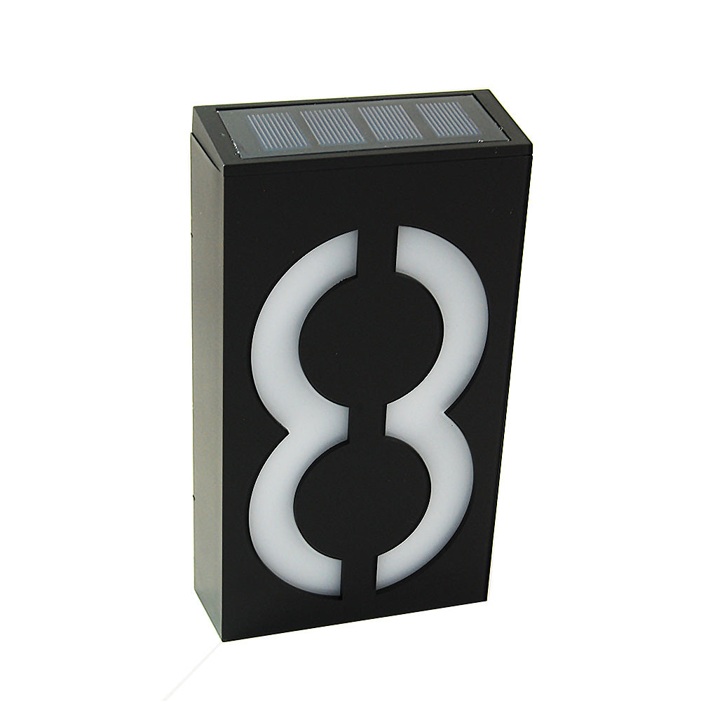 Waterproof Solar Power LED Address Number Door Wall Plate Light Sign - Digit 8