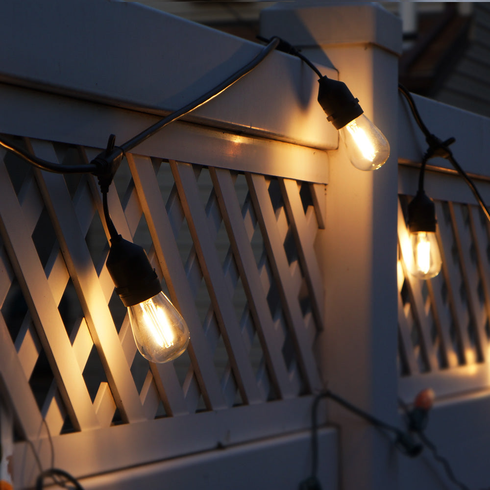 24Ft Outdoor LED String Lights 2W S14 LED Warm White Bulb w/ 12 Sockets_4