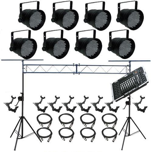 8 PAR CAN 64 LED PAR64 O-Clamp Stand XLR Cable Controller LED1600