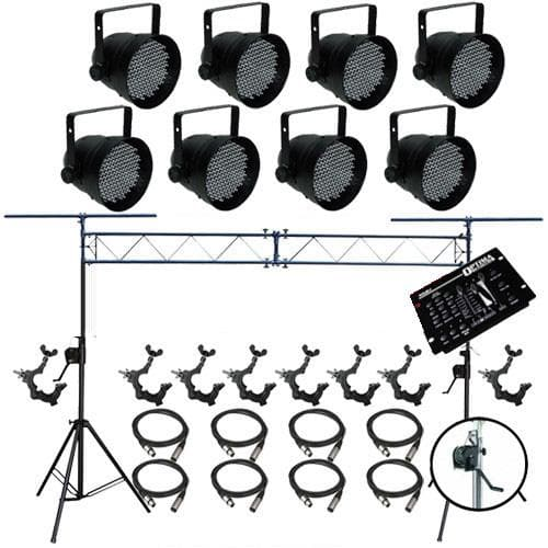 8 PAR CAN 64 LED PAR64 O-Clamp Stand XLR Cable Controller LED1900