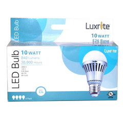 Luxrite 10w A-Shape A19 3000k E26 FL180 LED Light Bulb - 4 Bulbs