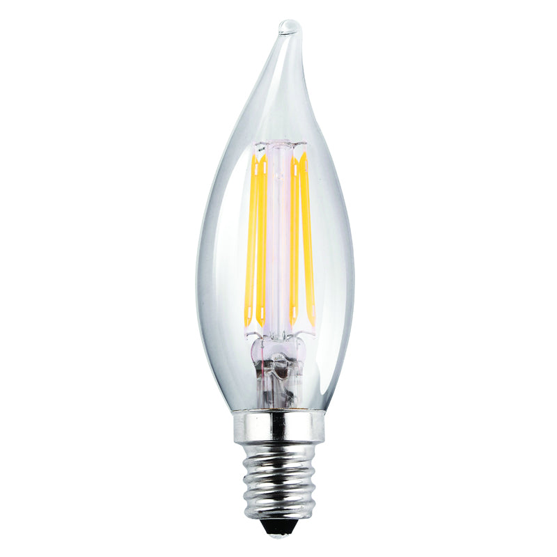 2Pk - Luxrite Antique Filament LED 4 Watt 2700K E12 Chandelier Clear Light Bulb