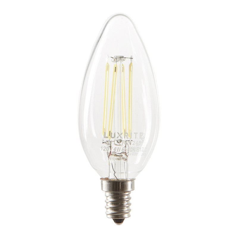 Luxrite Antique Filament LED 4.5 Watt 2700K E12 Chandelier Light Bulb