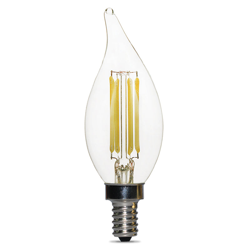 Luxrite LED 4W 2700K E12 Flame Tip Dimmable Antique Filament Clear Light Bulb
