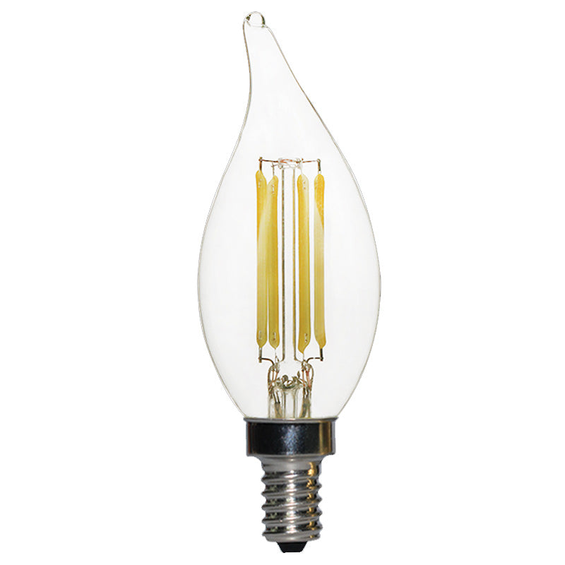 Luxrite Antique Filament LED 4 Watt 4000K E12 Chandelier Clear Light Bulb