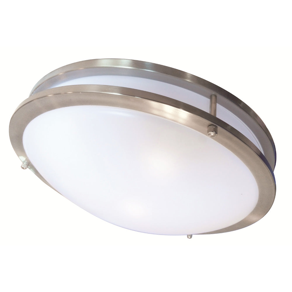 Luxrite 22W 14 in. LED Ceiling Fixture 4000k Chrome Finish Frosted Glass Dome