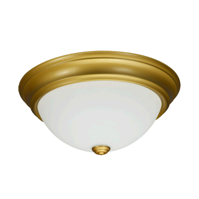 Luxrite 18W 13in LED Ceiling Fixture 3000k Gold Finish Frosted Glass Dome