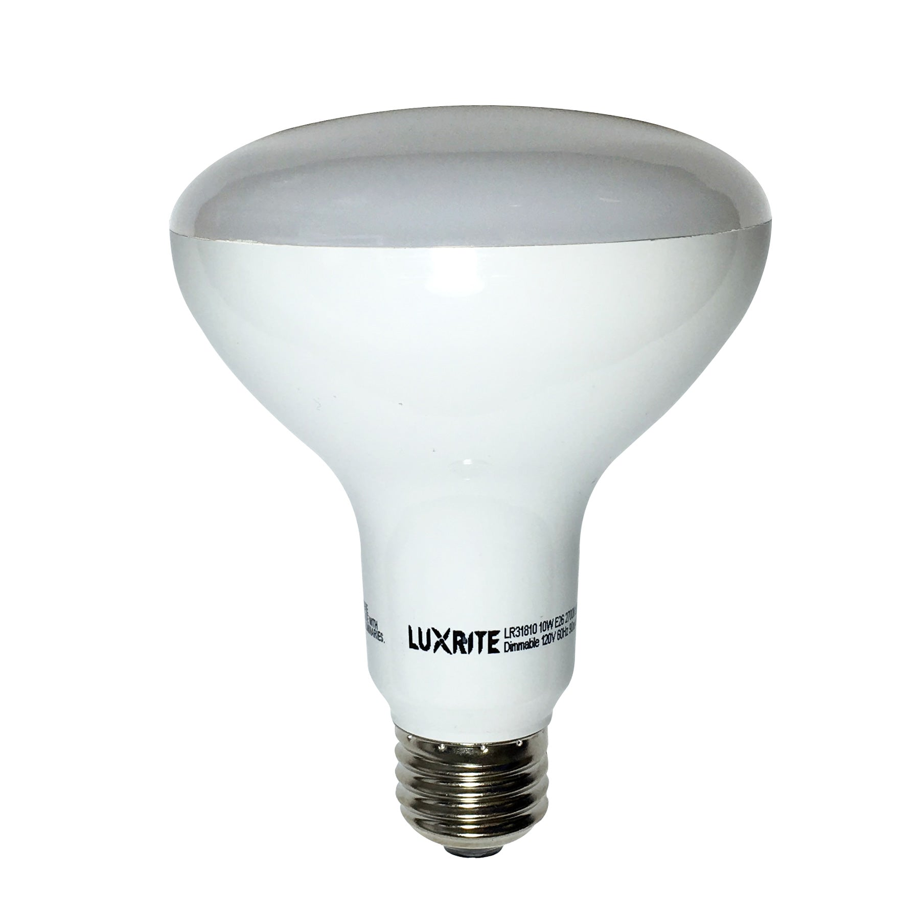 Luxrite 10W BR30 Dimmable LED Warm White 2700K Light Bulb