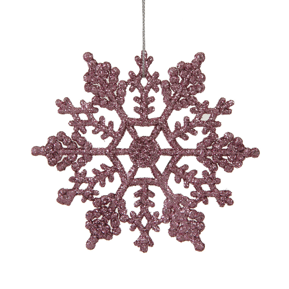 "4"" Pretty in Pink Snowflakes 24/Pvc Box"