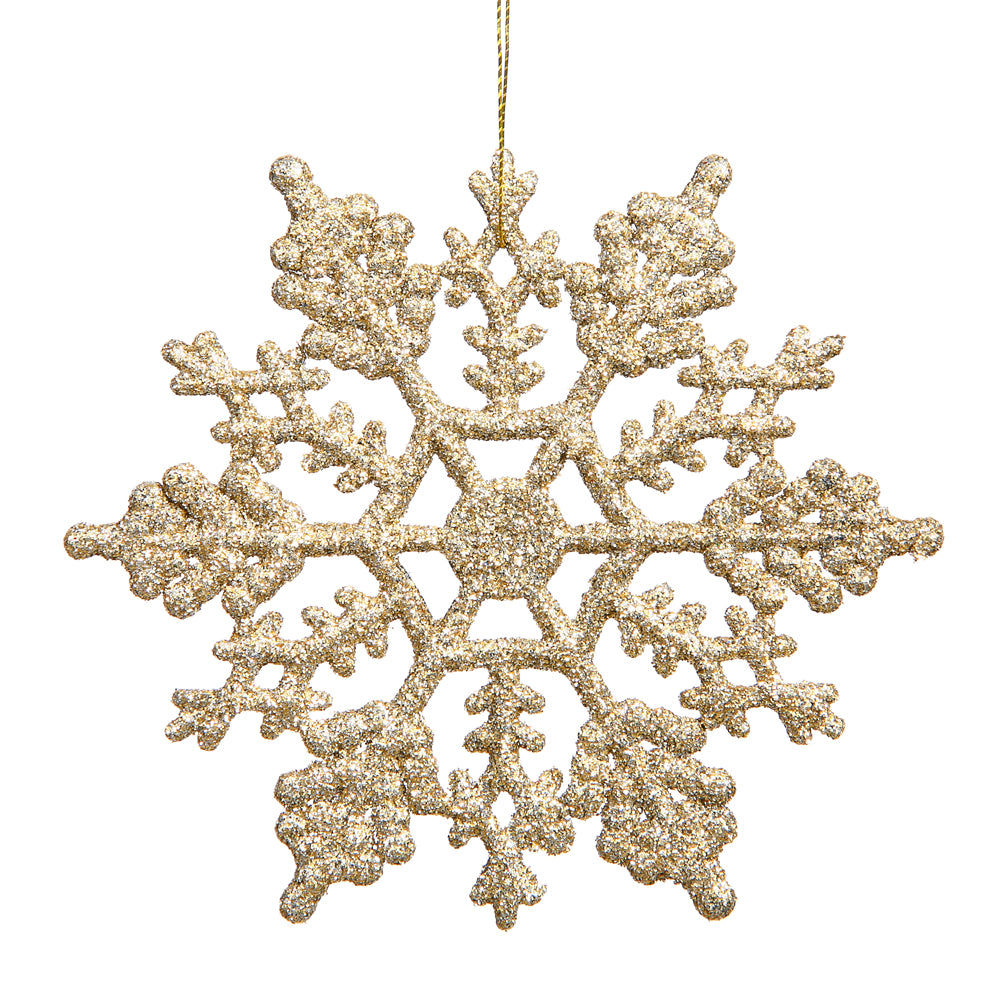 4 inch Champagne Glitter Snowflake Vickerman 23546 Christmas Ornament (24 pack)