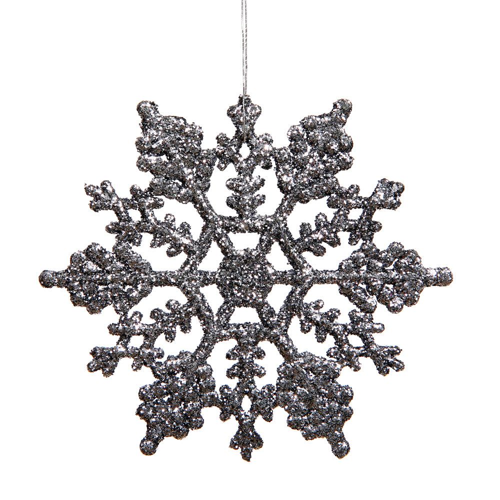 Vickerman 4 in. Pewter Glitter Snowflake Christmas Ornament