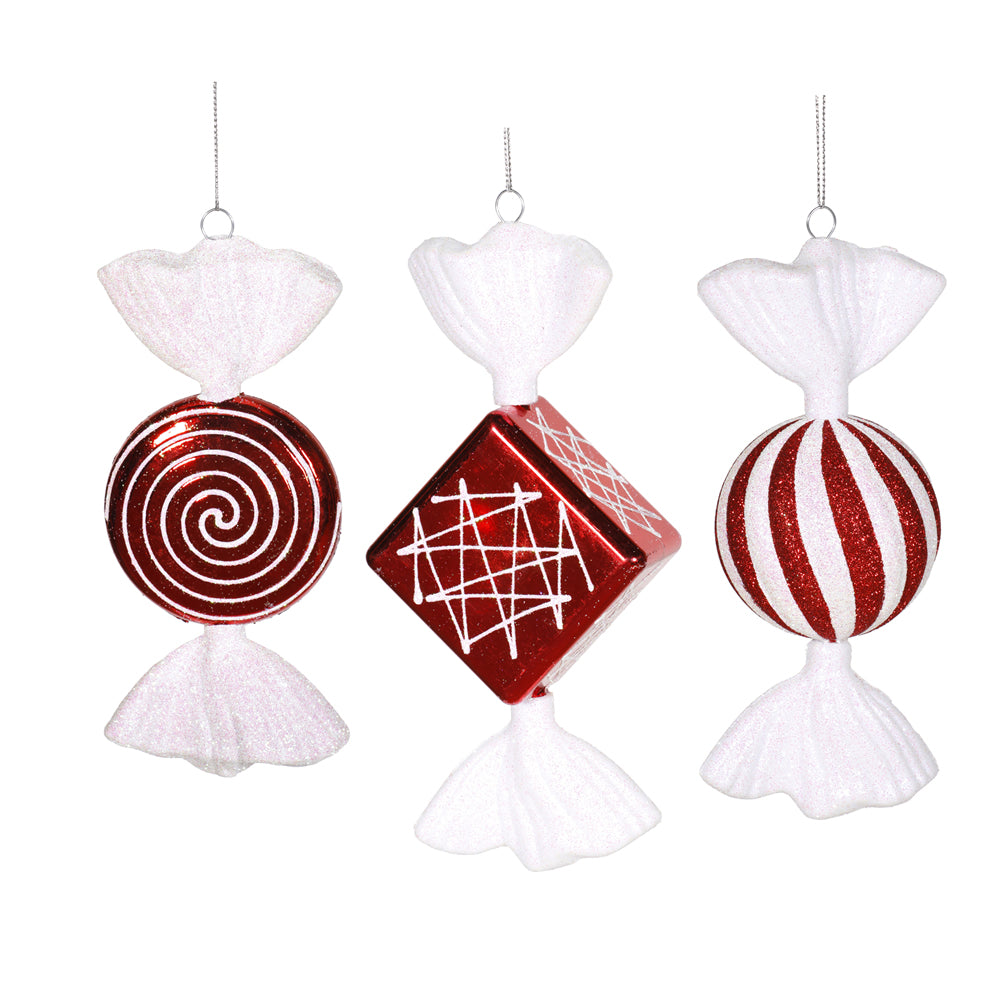 "8"" Peppermint Candy 3 Assorted Ornaments"