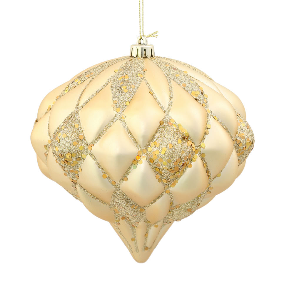 5.7'' Gold Matte-Glitter Diamond Ornament